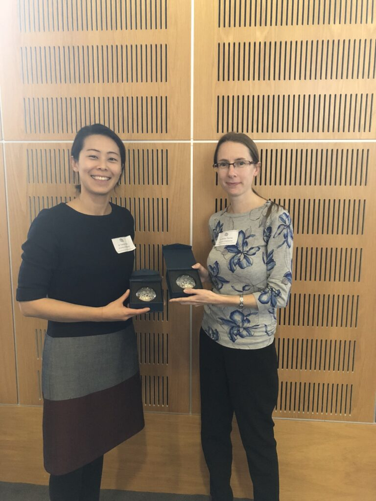 Rising Star Yvone Chun and keynote speaker Professor Shirley Thomas show awards